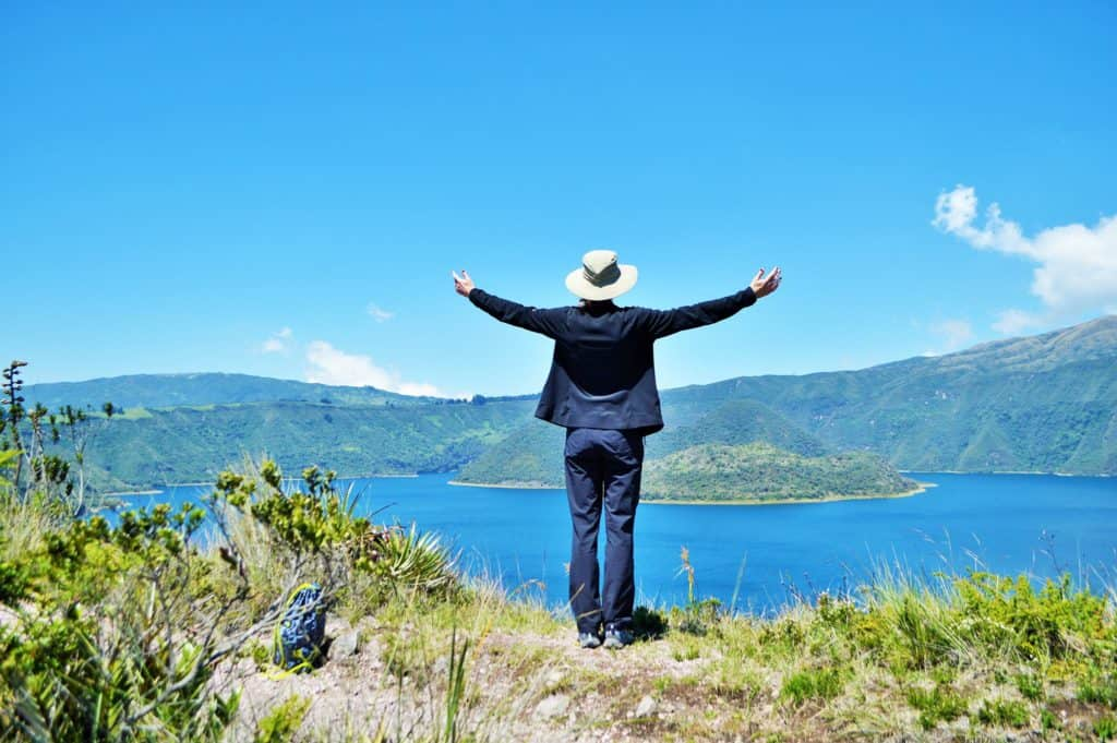 Picture of Stephanie standing in front of Laguna Cuicocha