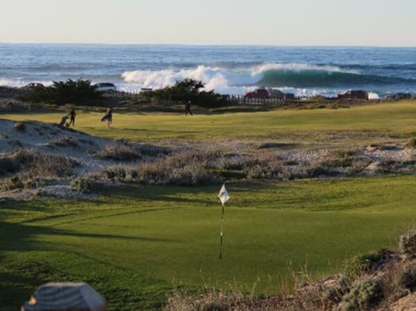 Photo of crashing waves seen Pacific Grove Golf Links, one of the top 3 golf courses