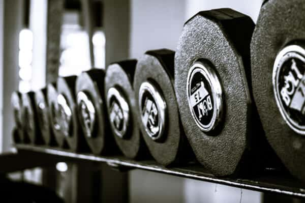 Picture of dumbbells on a rack