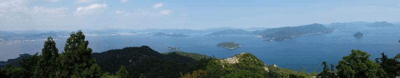Panoramic photo from the top of Mt. Misen on Miyajima Island