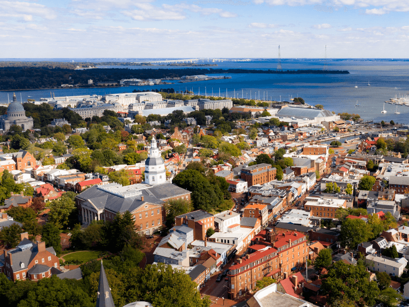 Aerial view of Annapolis, MD
