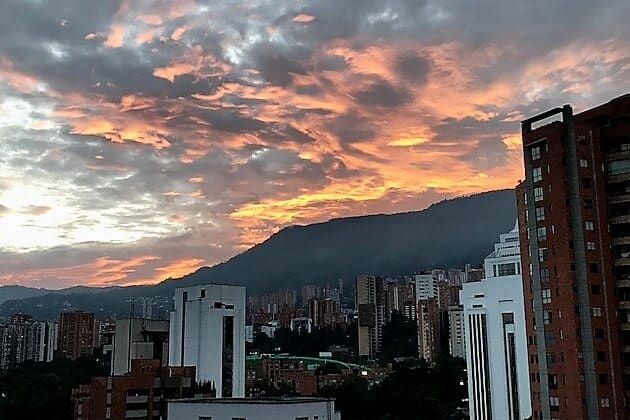 Sunrise over the mountains in Medellin.