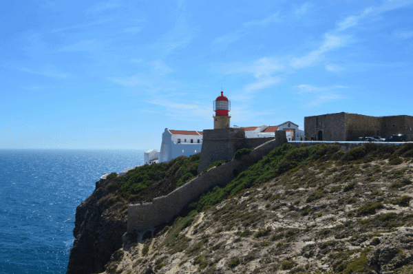 The llighthouse on the edge of the cliff at Cape St. Vincent