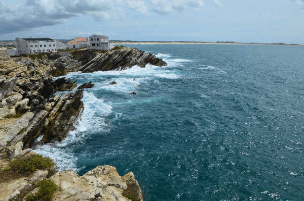 Waves crashing on the shores of Peniche, Portugal