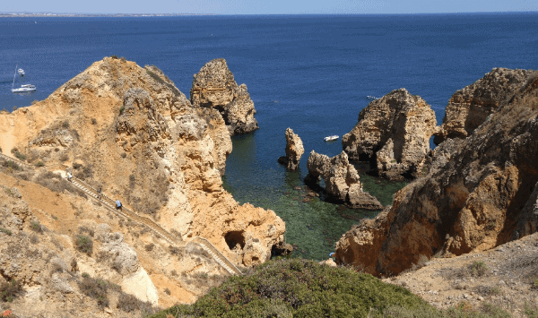 View from above looking down on the cliffs and caves of Ponta da Piedade in Algarve.